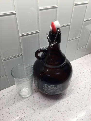 A cool shaped             growler from Stone Brewing